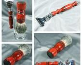 Redheart Men's shaving kit razor brush badger hair father's men's gifts groomsmen guys Personalized Gillette Mach3 silver tip CUSTOM ORDER