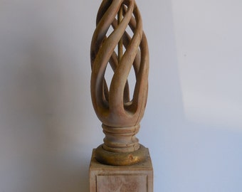Vintage Lamp Architectural salvage Wood spiral Carved Decorative block Base French Country Supplies
