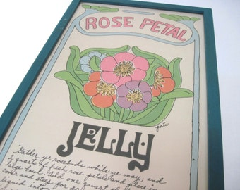 vintage 1960s retro kitchen art - recipe for ROSE PETAL JELLY hand decorated by Pati, Soovia Janis - blue + green + pink framed screenprint