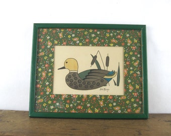 the mallard, vintage 1980s Bob Mesrop Duck art - hand decorated print distributed by SOOVIA JANIS - green + brown + yellow calico matte