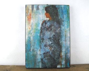 Girl in Blue, vintage 1970s DANISH MODERN print by Christian Bjorn Larsen - mcm, black block frame - Minerva Reproduktioner, vintage MOD art