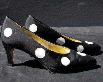 Vintage 80's PALOMA black polka dots shoes pumps size 8 B USA Italian high heels by thekaliman