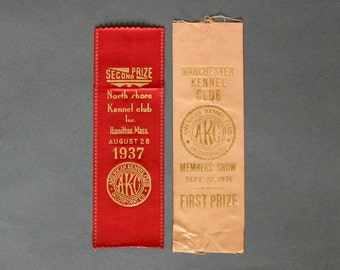 2 Dog Show Ribbons dating to the 1930's - First Place - American Kennel Club Dog Rosettes