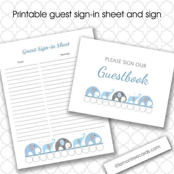 to blue gray elephants baby shower guest sign in and baby advice sheet