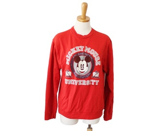 Vintage 80s MICKEY MOUSE University Red Sweatshirt - Women M - worn, faded, Walt Disney