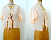1920s vintage champagne pink lace silk blouse bed jacket with silk ties