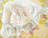 Antique french tulle lace bonnet with pink silk ribbon rosette trim ribbonwork