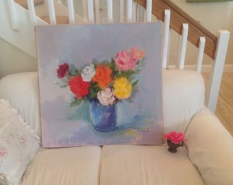 Vintage Rose Painting On Canvas 32 inches Long Shabby Chic Cottage Style On Sale at Retro Daisy Girl
