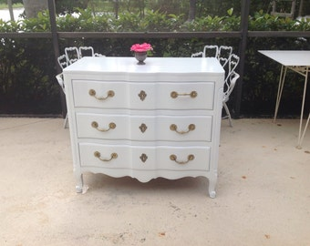 LACQUERED WIDDICOMB CHEST French Provincial Louis Style / Over 3 Feet wide /Oversized Chest White Lacquer Shabby Cottage at Retro Daisy Girl