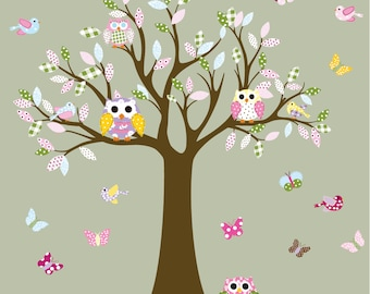 Nursery Wall Decal, Children Wall Decal, Decal Tree, Owl Tree Decal, Vinyl Wall Decal