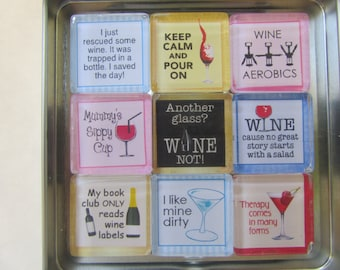 Wine-Themed Refrigerator Magnets, Set of 9 Fridge Magnets
