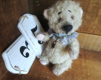 "Artist Mohair Soft Teddy Bear, Robby , 6.5"", Collectible"