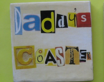 Single coaster. Coaster. Coaster for a father. Ceramic coaster. Baby shower gift. Coffee coaster.