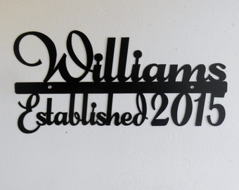 Personalized Name Sign / Metal Sign / Typography / Last Name / Surname / Metal Wall Art / Wedding / Established / Anniversary