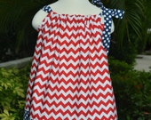 Fourth of July baby outfit, 4th of July Toddler Dress, patriotic girl dress, chevron dress, 4th of July toddler dress, red and white chevron