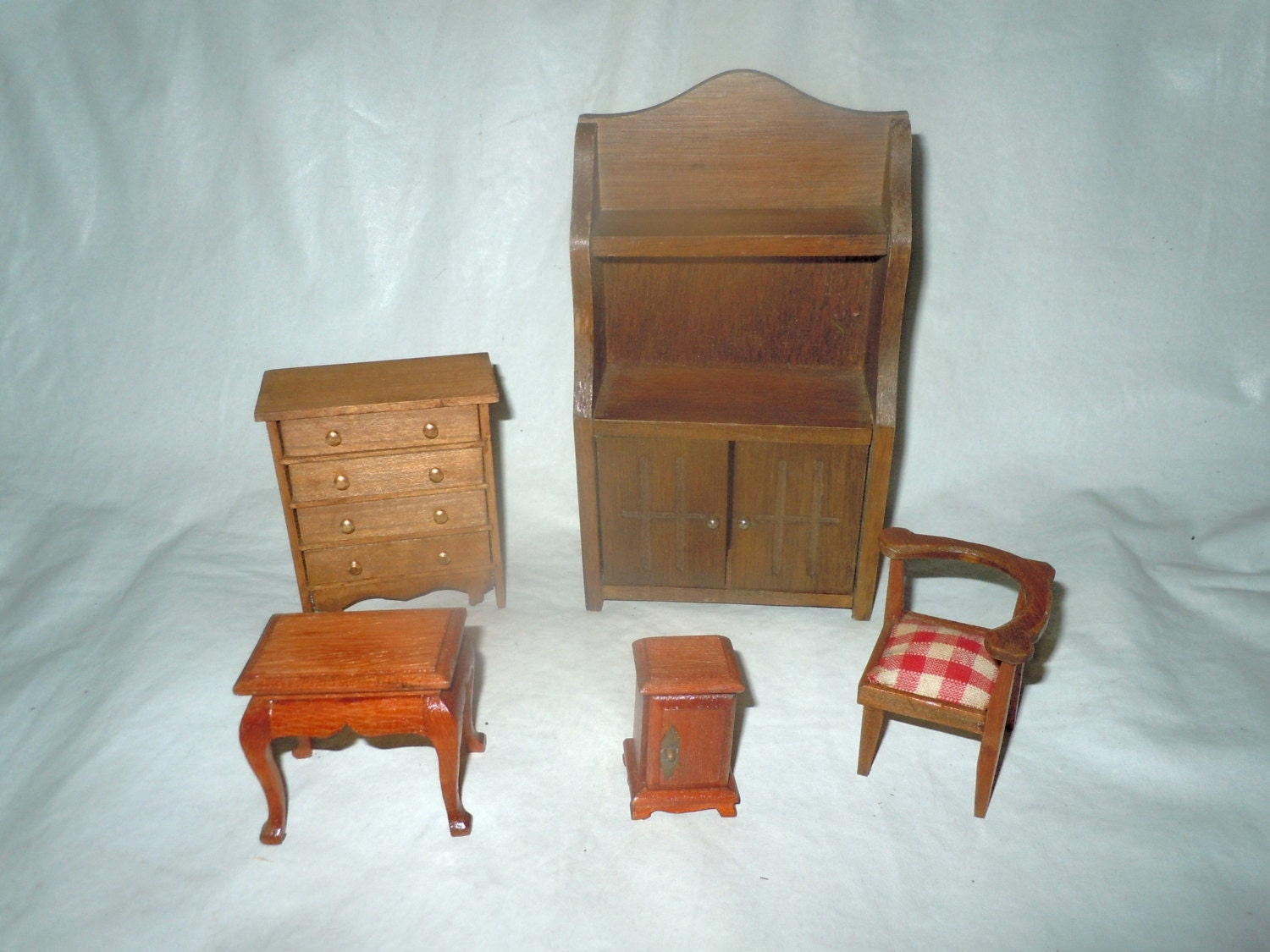 Set Of Vintage Wood Dollhouse Furniture