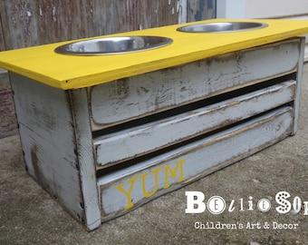 Yum! Yellow Distressed Dog Feeder Dish Holder with Storage