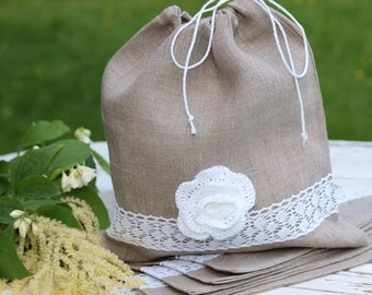 CHRISTMAS in JULY SALE! Set of 6 Linen and white crocheted flower Gift Bags Wedding gift bags Grey Linen gift bags