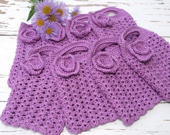 SUMMER SALE - Purple Crocheted Gift Bags Mini Tote Bag Bridesmaids Gift Bags Bridal Party Accesories