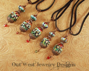 Lampwork Bead Necklace - Handtorched Flower Garden Pendant with Austrian and Swarovski Crystal SRAJD