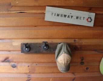 vintage industrial coat rack - reclaimed wood, doorknobs and steel