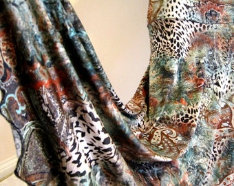 """Ladies PAISLEY Animal Print Stretch POLYESTER Knit Jersey Maxi Skirt for Missionary, Travel or Leisure, 38"""" long, S/M"""