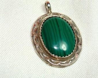 Navajo Green MALACHITE Pendant set in STERLING Silver