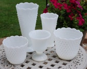 Eclectic Five Piece Set of Vintage Milk Glass, Pinterest Style Wedding Vase Set