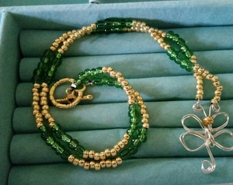 Green and gold Dragonfly necklace