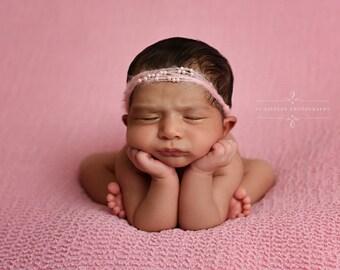 Pink Pearls Mohair Halo Tieback Headband Newborn Photography