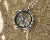 My Little Pony Friendship Is Magic Story Locket Pendant Necklace Floating Glass and Metal Charms Custom by TorresDesigns - Ready To Ship