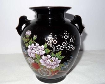 Fine China Handled Flower Vase Hand Painted Flowers Japan Home & Garden Décor Vase Flower Vase