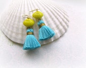 Vintage Yellow and Tropical Teal Tassel earrings, BoHo earrings