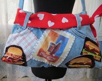 Coke Denim Womens Purse Vintage Levi Jeans Fun Bag Tote Shoulder Bag Coca Cola Cheeseburger Pizza Patches