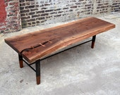 Reclaimed Walnut Wood Coffee Tables with Inset Walnut Feet
