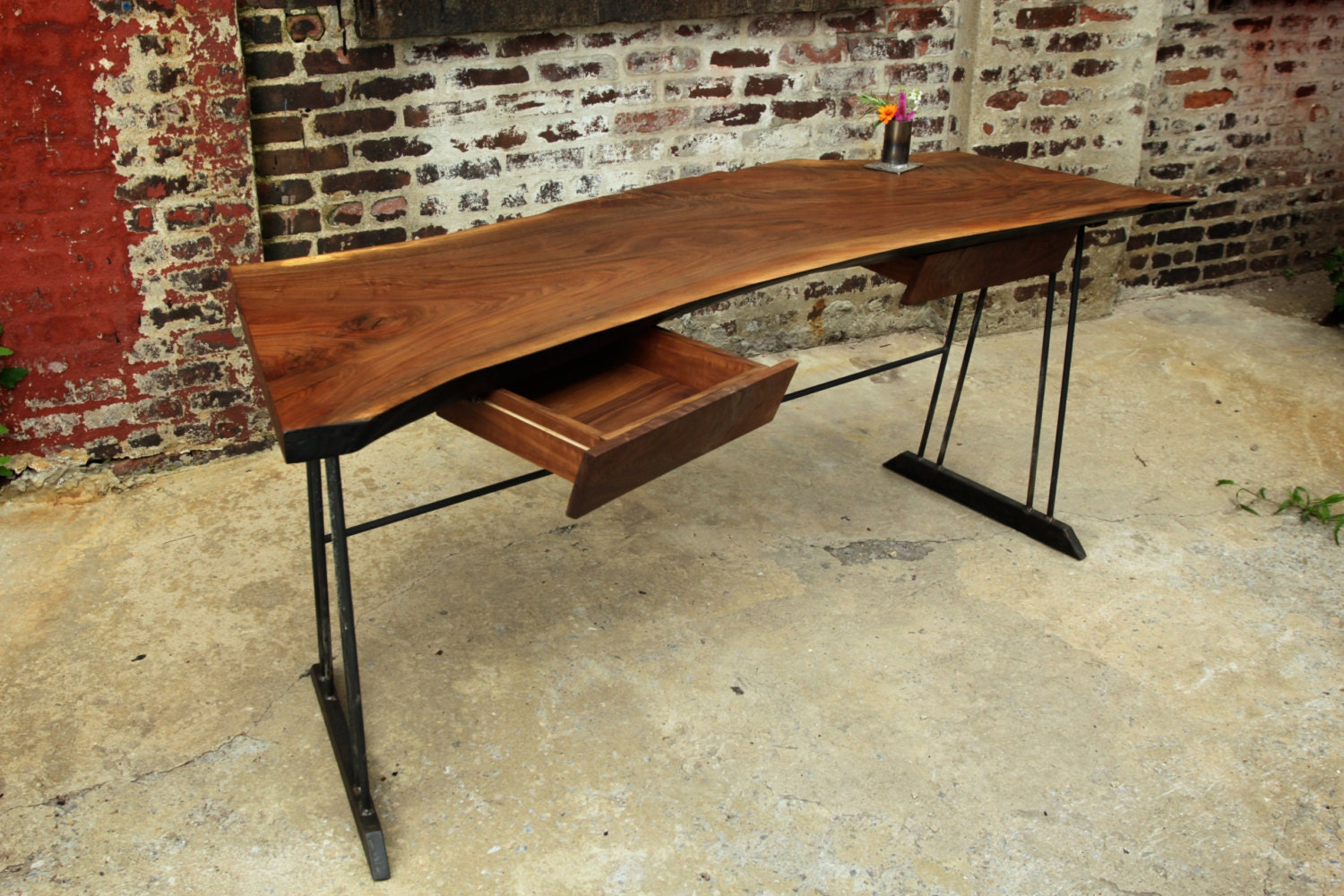 Wooden Writing Table ~ Reclaimed walnut wood writing desk with by recycledbrooklyn