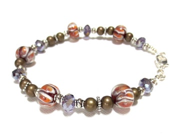 Women's Tiger Stripe Bronze Anklet, Orange and White Striped Lampwork Beads, Bronze Beading, Reflective Purple Crystals, One of a Kind