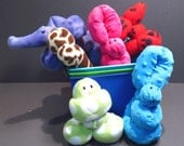 Gift Basket of 3 Plush Fleece Fabric Balloon Style Animals