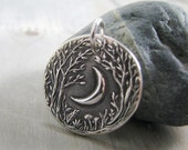Forest Moon, Personalized Fine Silver Pendant, Handmade in Recycled Silver From Artisan Original Carving, by SilverWishes
