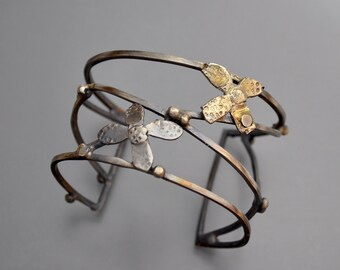 Strappy Cuff with Silver Flowers