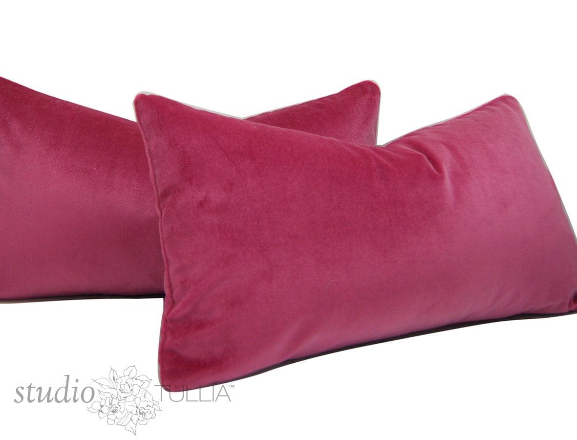 Raspberry Velvet Lumbar Pillow Covers 12 X 22 Inch Set Of