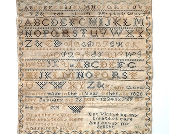 Antique Needlework Sampler 1828 Jane Queal Worcester New York - Schoolgirl Needlepoint  Silk Linen Cross Stitch Folk Art Americana Primitive