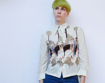 Vintage 70's Bullock's Wilshire blouse, Sheer, Art Deco people print, beige - Small