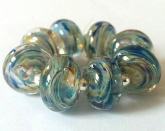 Blue Breeze - Simple Spacers - Handmade Lampwork Beads - SRA - UK.