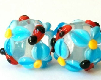 Blue Spring Meadow Beads - Handmade Lampwork  - SRA