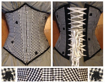 """40% off! 25"""" waist, Black and white checker underbust corset with bugs! made by Jupiter Moon 3"""