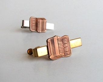 accordion tie clip . copper accordion on silver or brass gold tie clip . mens accessories
