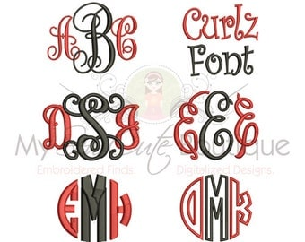 Embroidery Font Pack - 6 Machine Embroidery Fonts in 3 Sizes Each -Instant Download