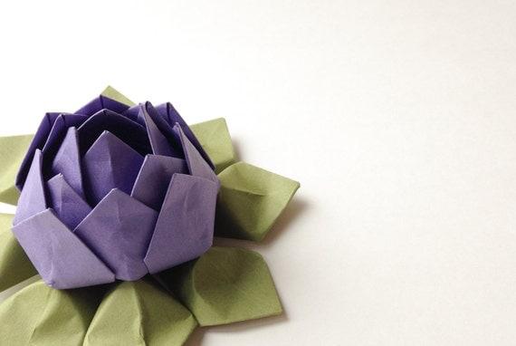 Paper Flower - Handmade Origami Lotus Flower - Gift, Table Decoration, Wedding Favor -- Grape Purple, Moss Green