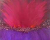 original abstract art, mixed media, red and purple painting with gold, bronze and copper leaf, titled volcano